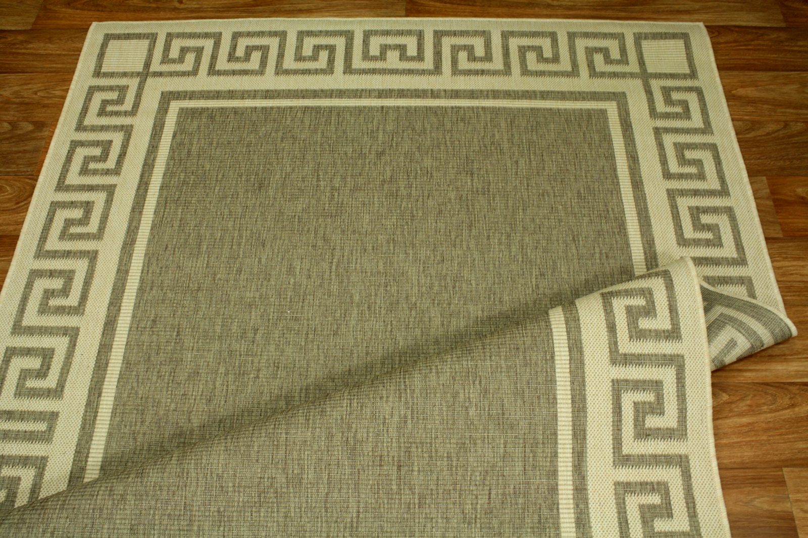 Teppich Agnella Diuna Branta dunkles beige flach gewebt s1